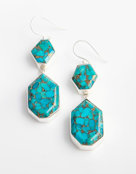 2 Stone Blue Mojave Turquoise Silver Earrings Set